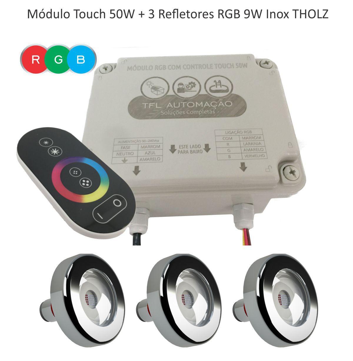 Kit Iluminação Piscina - Contr Touch + 3 Leds Rgb 9w Tholz