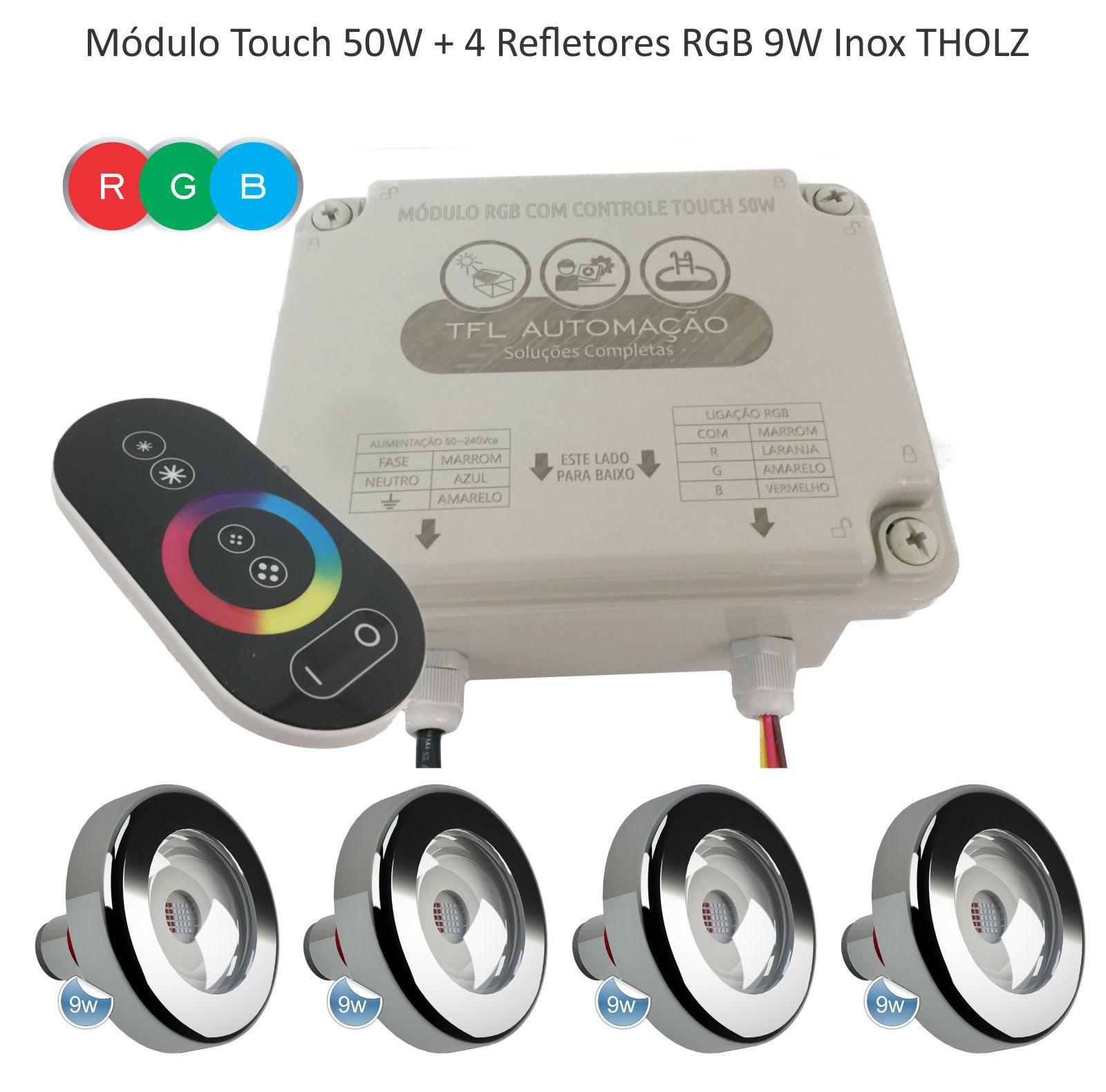 Kit Iluminação Piscina - Contr Touch + 4 Leds Rgb 9w Tholz