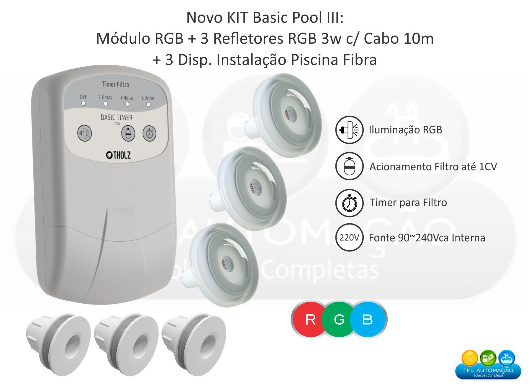 Kit Iluminação Piscina Fibra - Basic Pool Tholz - 3 Leds