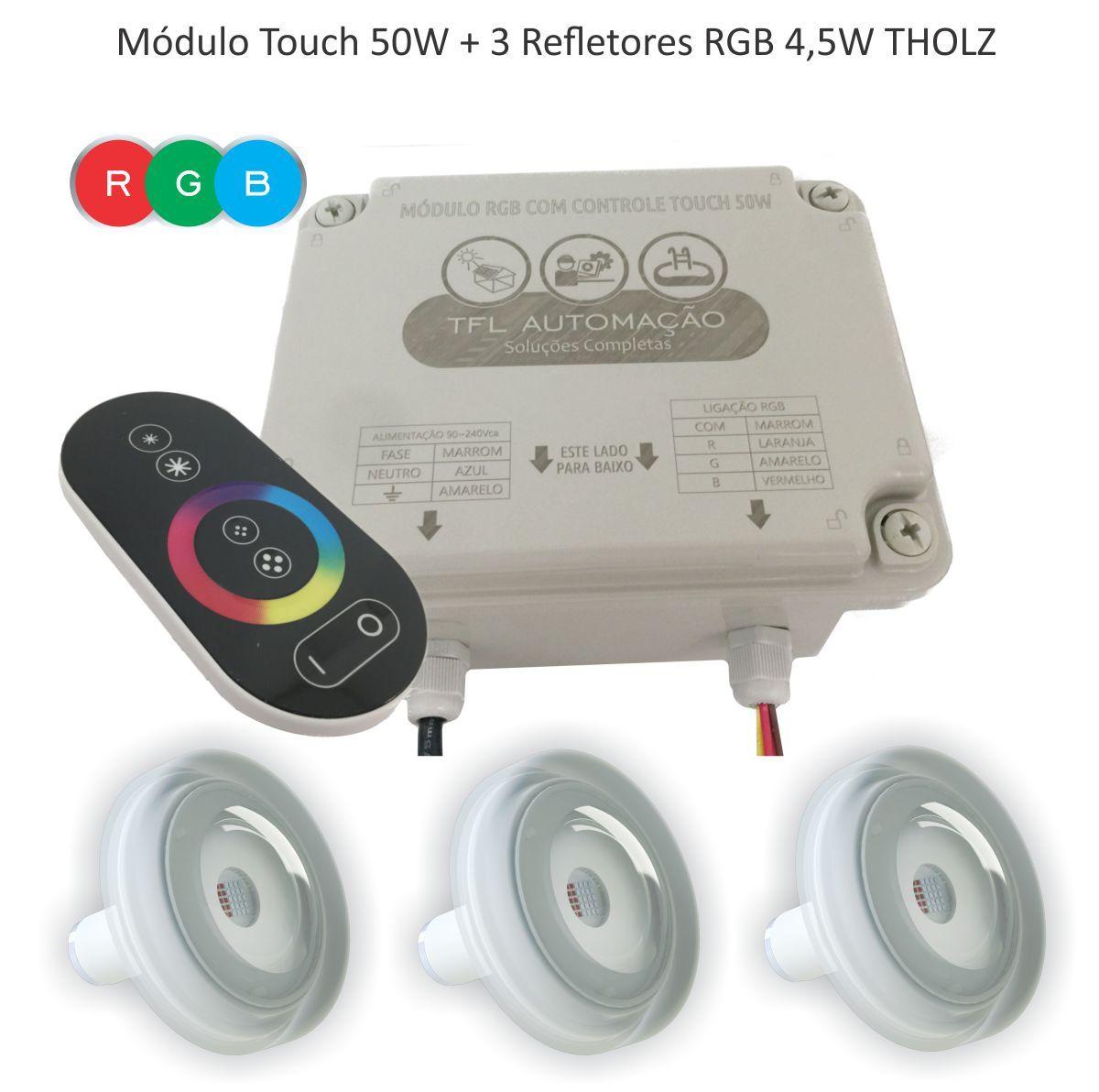 Kit Iluminação Piscina - 3 Leds Rgb 4,5w Tholz + Módulo c/ Controle Touch 50w