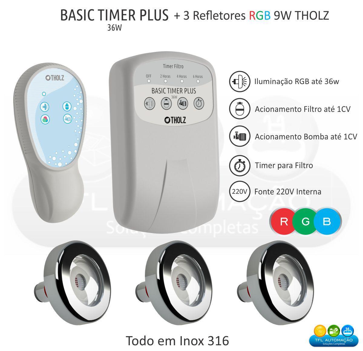 Kit Iluminação Piscina - 3 Leds Rgb 9w Tholz + Basic Timer Plus 36w