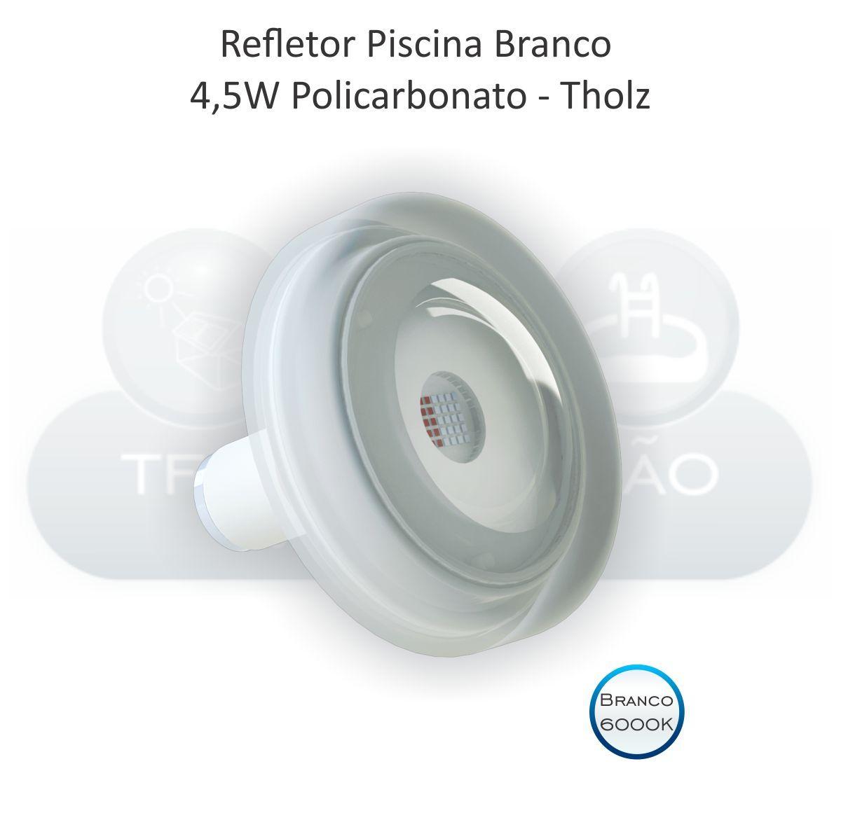 REFLETOR LED BRANCO 6000K - CABO 10M - 4,5W
