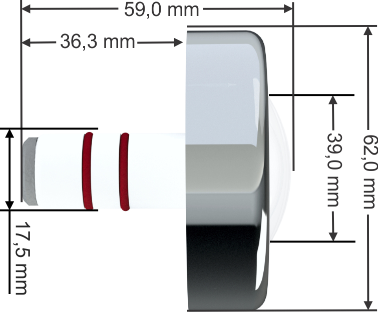Power LED RGB - Piscina - 4,5W Inox - Cabo de 20M