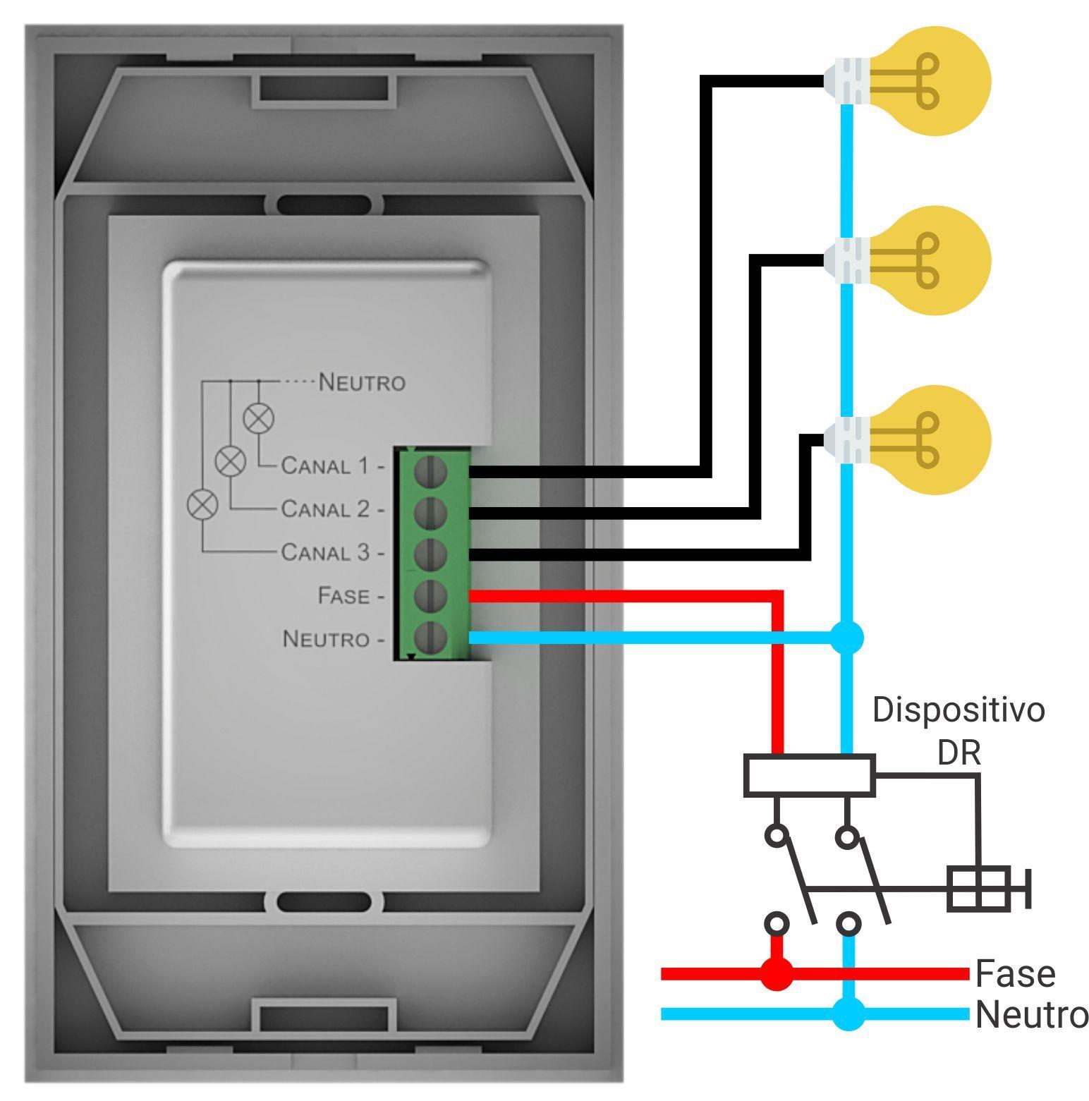 Teclado De Iluminação - Easy Light 4x2 - 3 Circuitos Automação