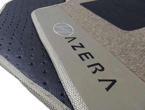 Tapete Hyundai Azera 2011 Carpete bege 8mm Base Borracha Pinada