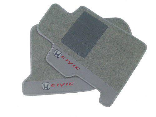 Tapetes Civic dois jogos Carpete cinza 8mm Base Pinada.