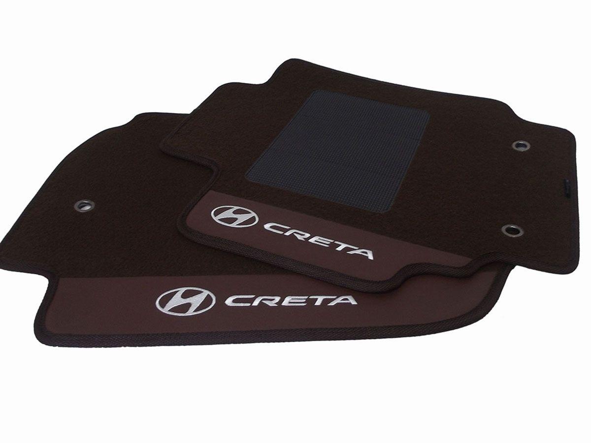 Tapete Hyundai Creta Personalizado marrom Carpete 8mm O Melhor!