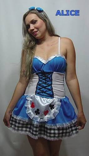 Fantasia Alice No Pa�s Das Maravilhas -  Adulto - fantasia para Festa