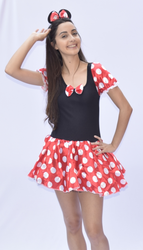 Fantasia Minnie Mouse  Sem Bojo - Turma do Mickey - Adulto - Point Da Dança