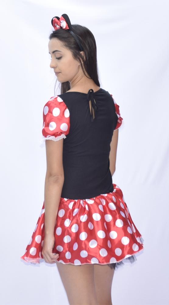 Fantasia Minnie Mouse  Sem Bojo - Turma do Mickey - Adulto - Point Da Dança