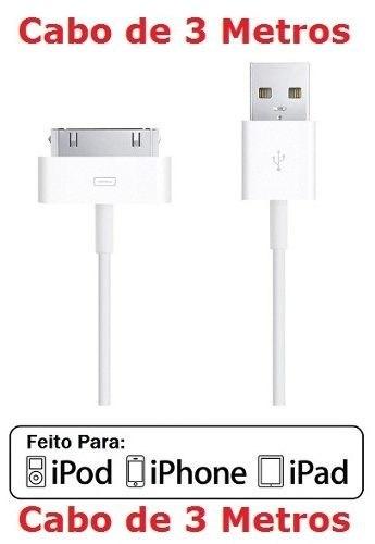 Cabo Iphone 4 4s 3g Ipad Ipod 3 Metros Dados Carregador Usb
