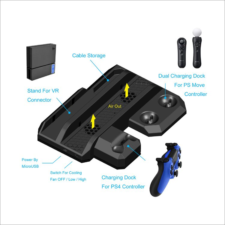 Base Multifuncional Ps4 Pro Slim Fat Cooler E Carregadora 5x1 para Playstation 4