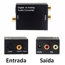 Conversor Adaptador De Áudio Digital Óptico Para Analógico Tv Home Theater Av