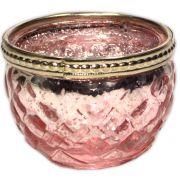 Castiçal de Vidro - Rosa