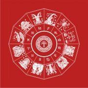 Toalha Mandala Astrológica Yggdrasil - Vermelha