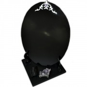 Espelho Negro com Base - Turmalina Negra e Ametista