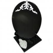 Espelho Negro com Base - Turmalina Negra e Quartzo de Cristal Bruto