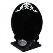 Espelho Negro com Base - Turmalina Negra e Quartzo de Cristal mod. 3