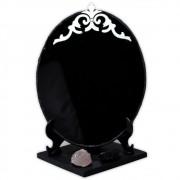 Espelho Negro com Base - Turmalina Negra e Quartzo Rosa