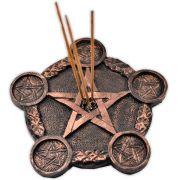 Incensário triplo e castiçal bronze - Pentagrama