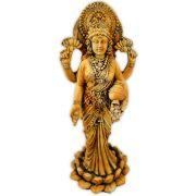 Lakshmi da Prosperidade na Flor de Lótus com Cristais