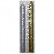 Trio Velas Palito - Prateada, Branca e Dourada