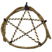 Pentagrama de Bambu e Junco com Turmalina Negra mod.2 - Proteção