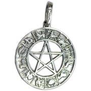 Pingente de Prata de Lei (prata 950) - Pentagrama Zodíaco