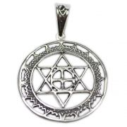 Talismã Mandala Hexagrama - Prata 950