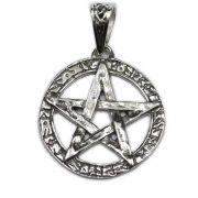 Pingente de Prata de Lei (prata 950) - Pentagrama Lei Wicca