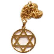 Talismã Colar Hexagrama - Dourado grande