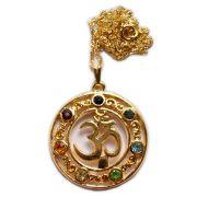 Talismã Om Chakras - Dourado com pedras