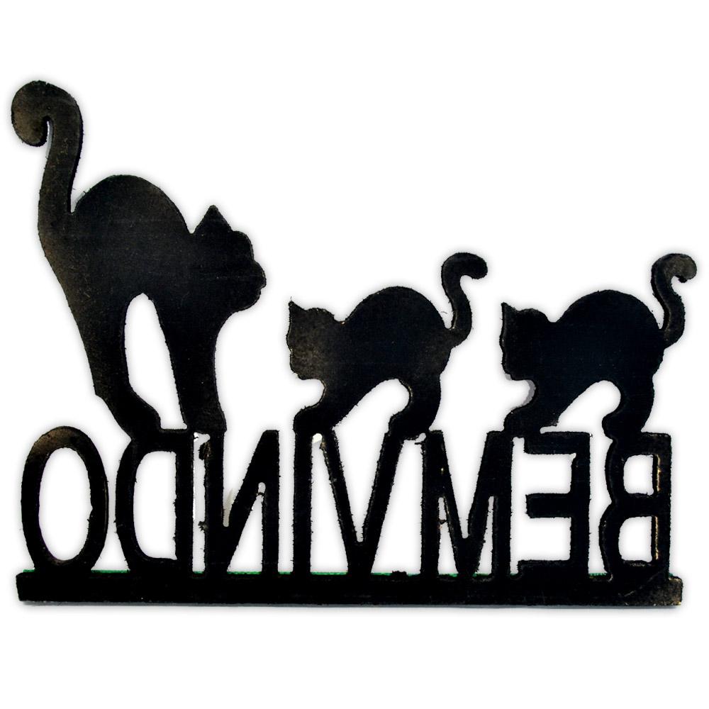 Plaquinha Bem Vindo - Gato Preto