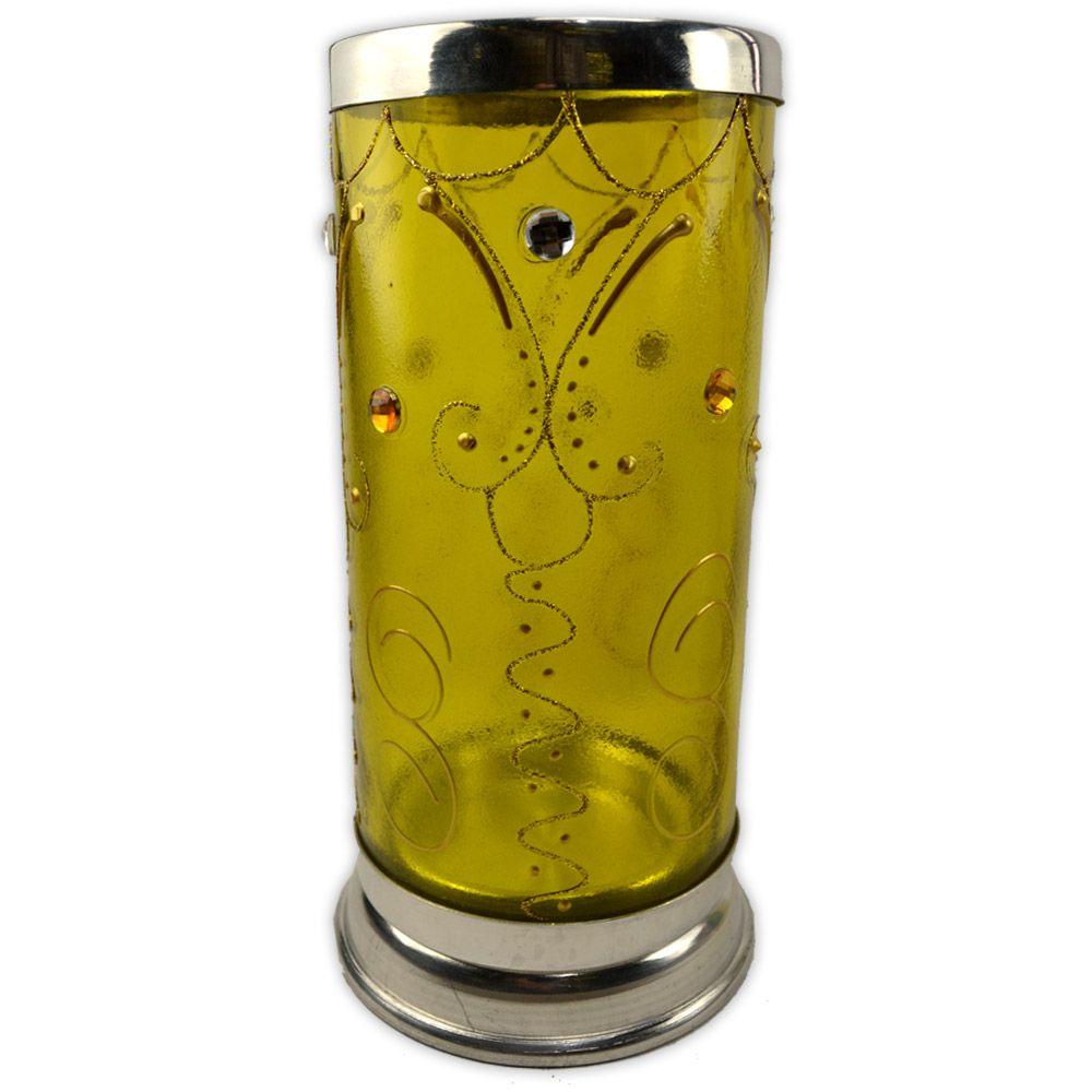 Castiçal Decorado para Vela 7 Dias - Amarelo