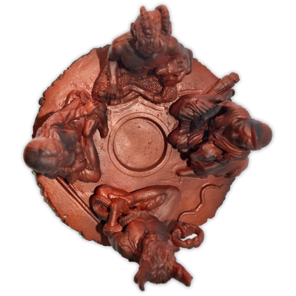 Círculo dos Deuses Cernunnnos, Morrighan, Pan e Diana - Castiçal Avermelhado