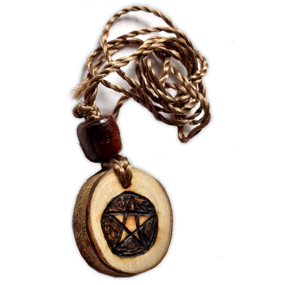 Colar de madeira - Pentagrama Escuro