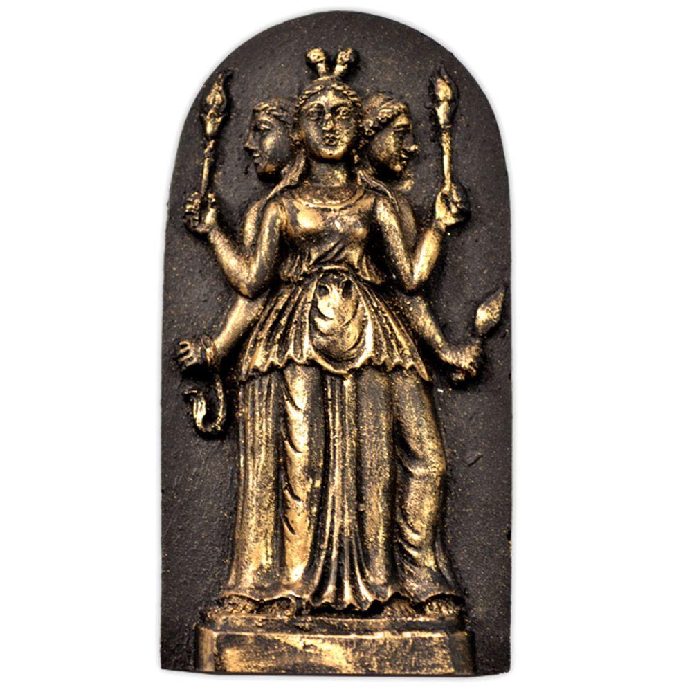 Placa Deusa Tríplice Hécate - pequena dourada