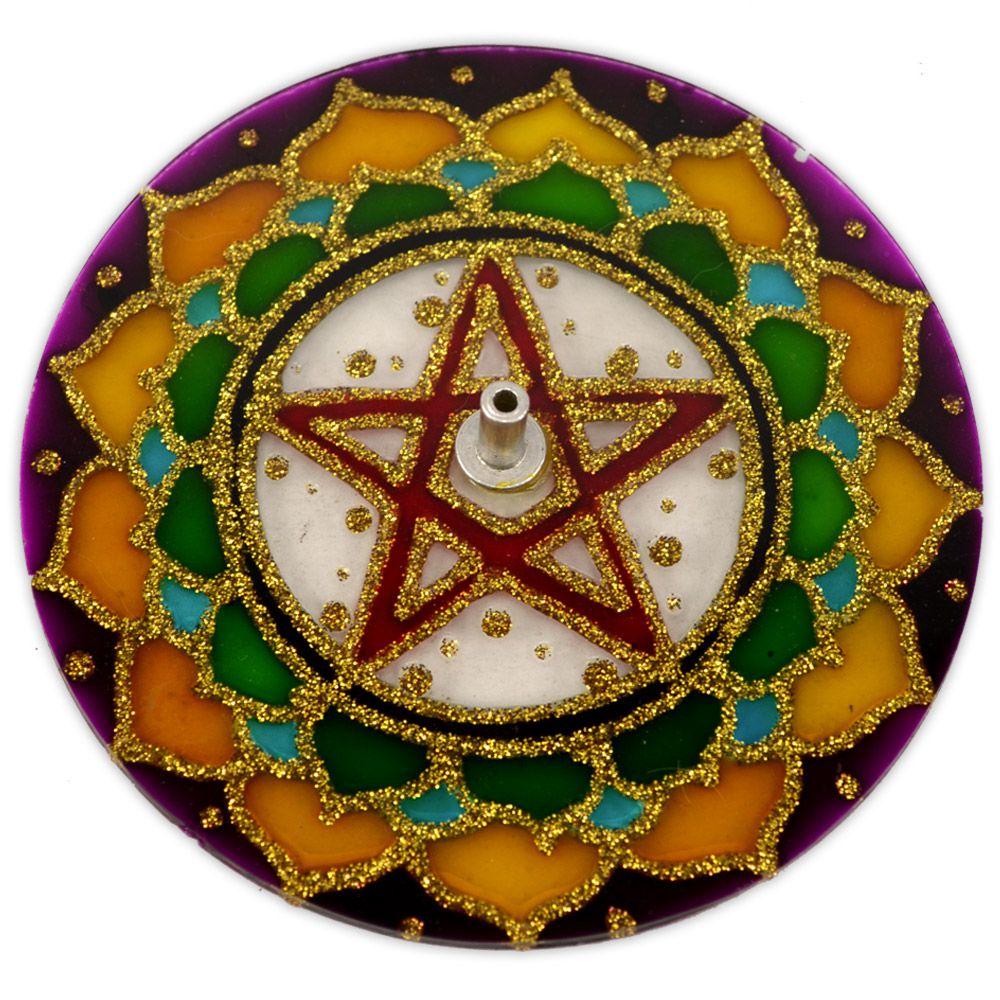 Incensário de Vidro - Mandala Pentagrama