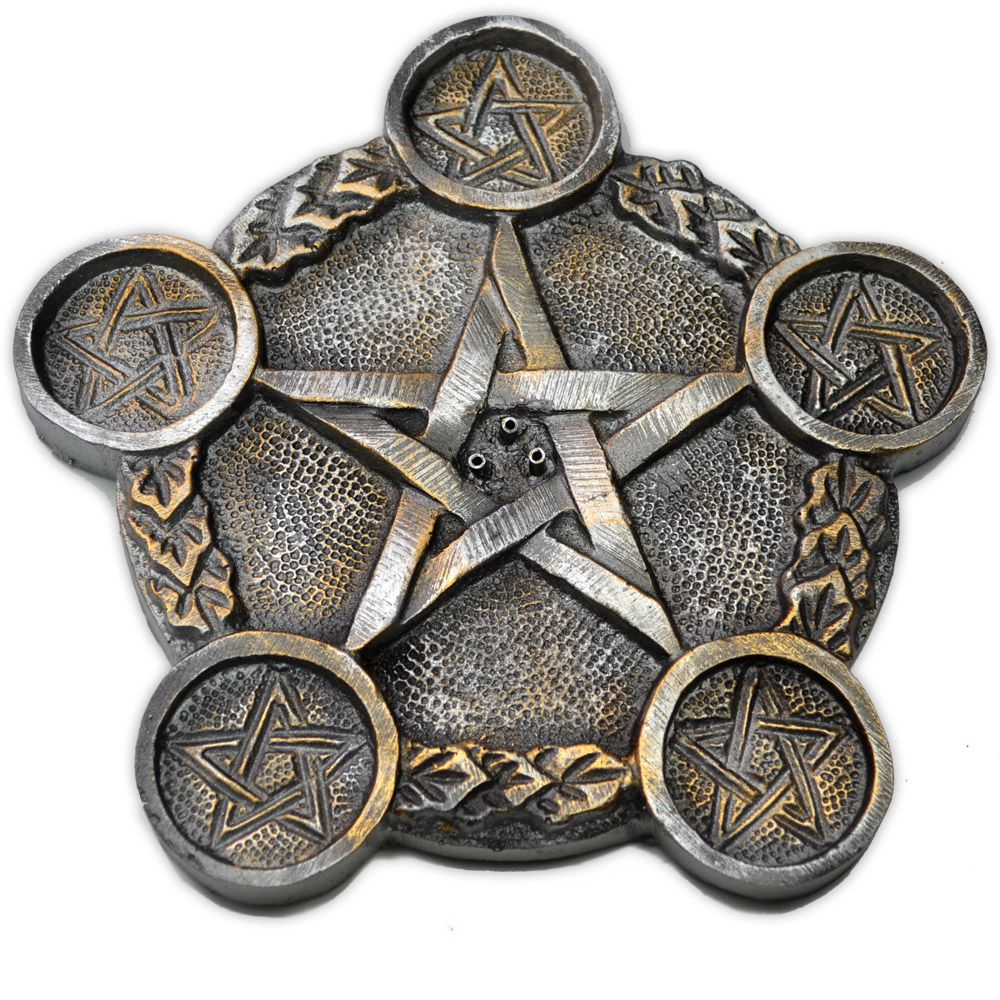 Incensário triplo e castiçal prateado - Pentagrama