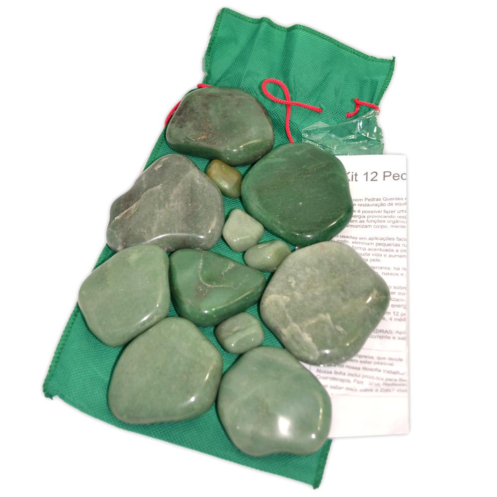 Kit 12 Pedras Turbinado - Quartzo Verde