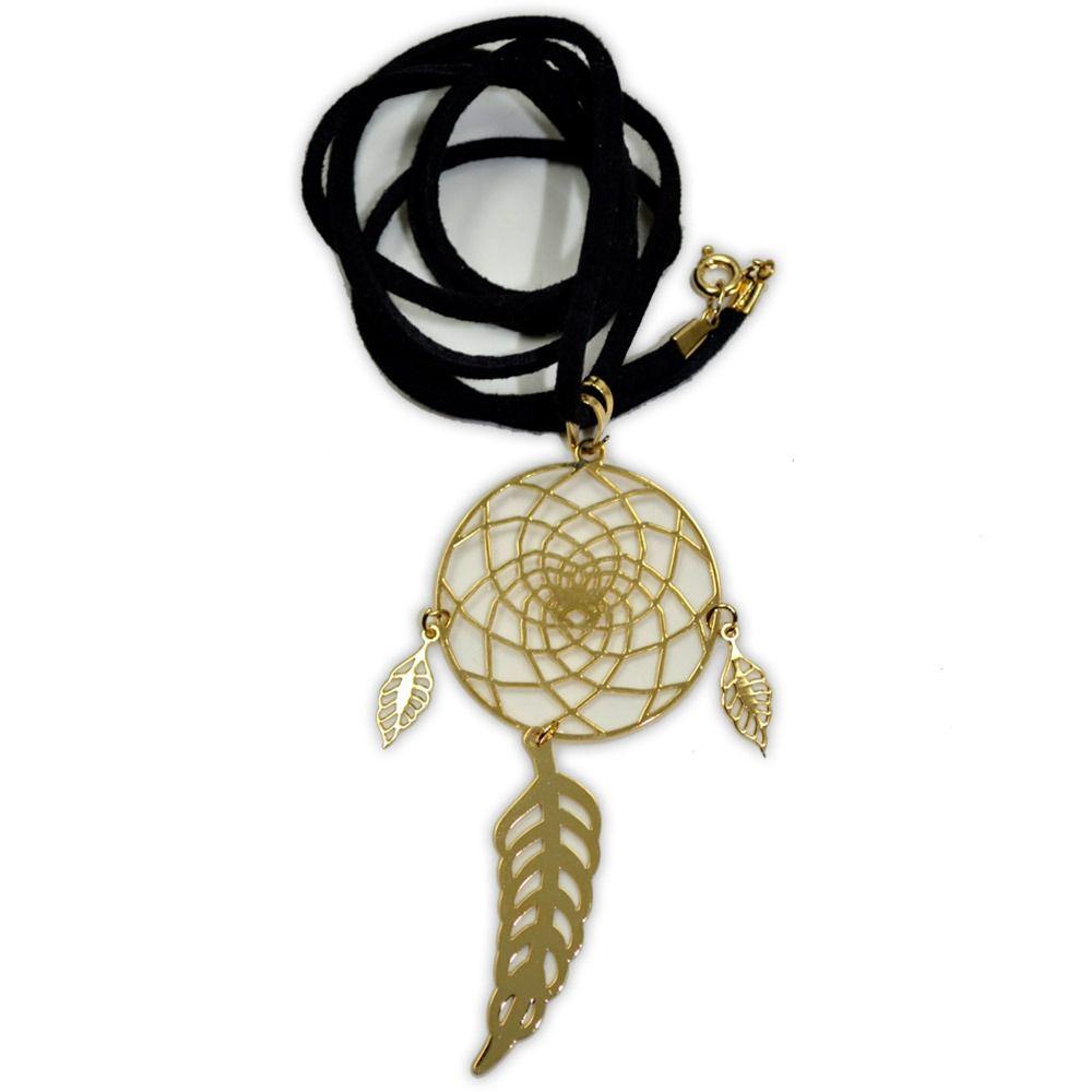 Talismã Colar Filtro dos Sonhos - Dourado (cordão de couro sintético)