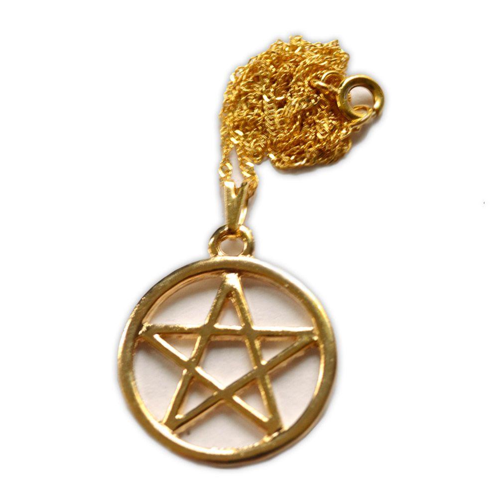 Talismã Colar Pentagrama, Proteção - Dourado Grande