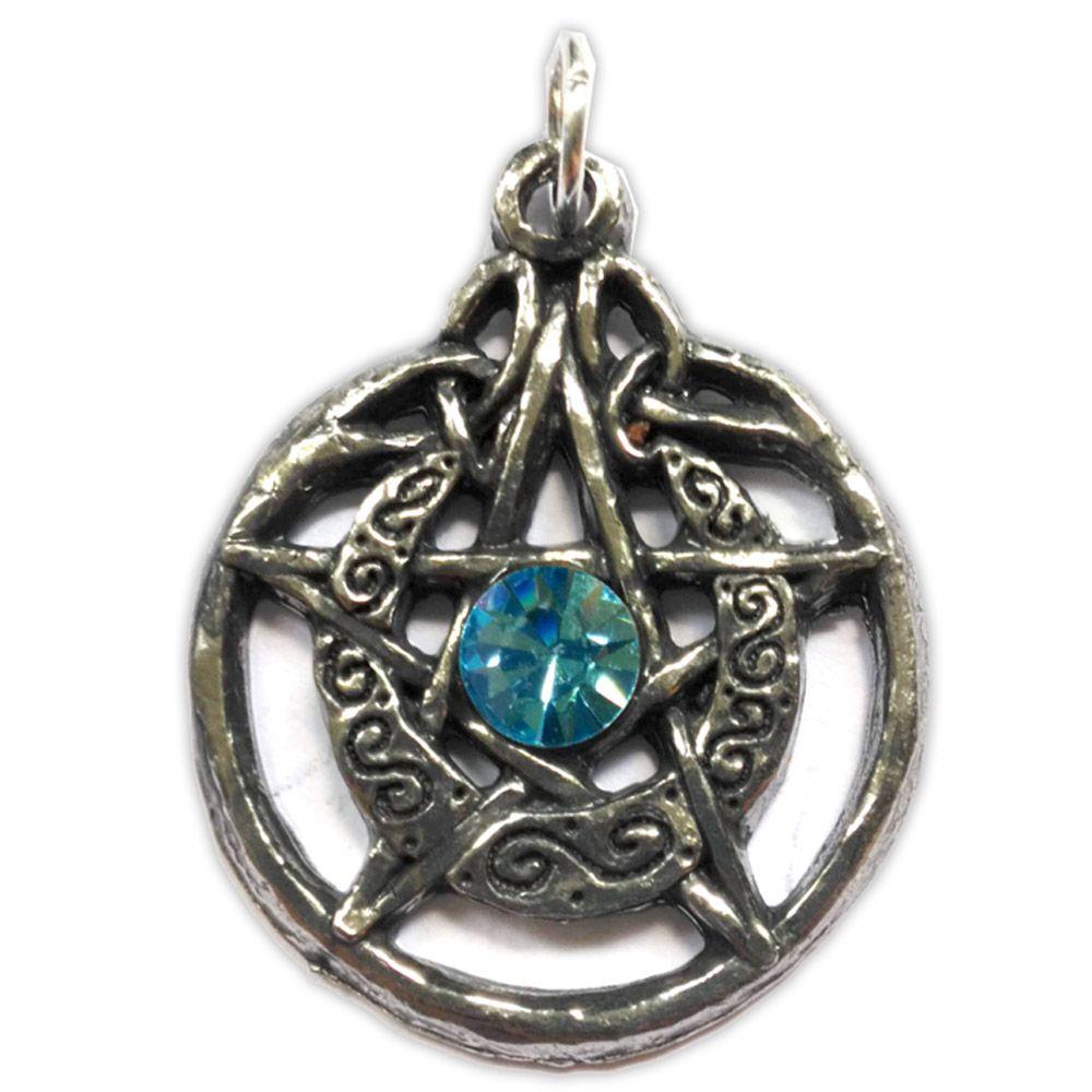 Talismã Wicca Pentagrama - Lunar Swarovski, Amuleto de Proteção