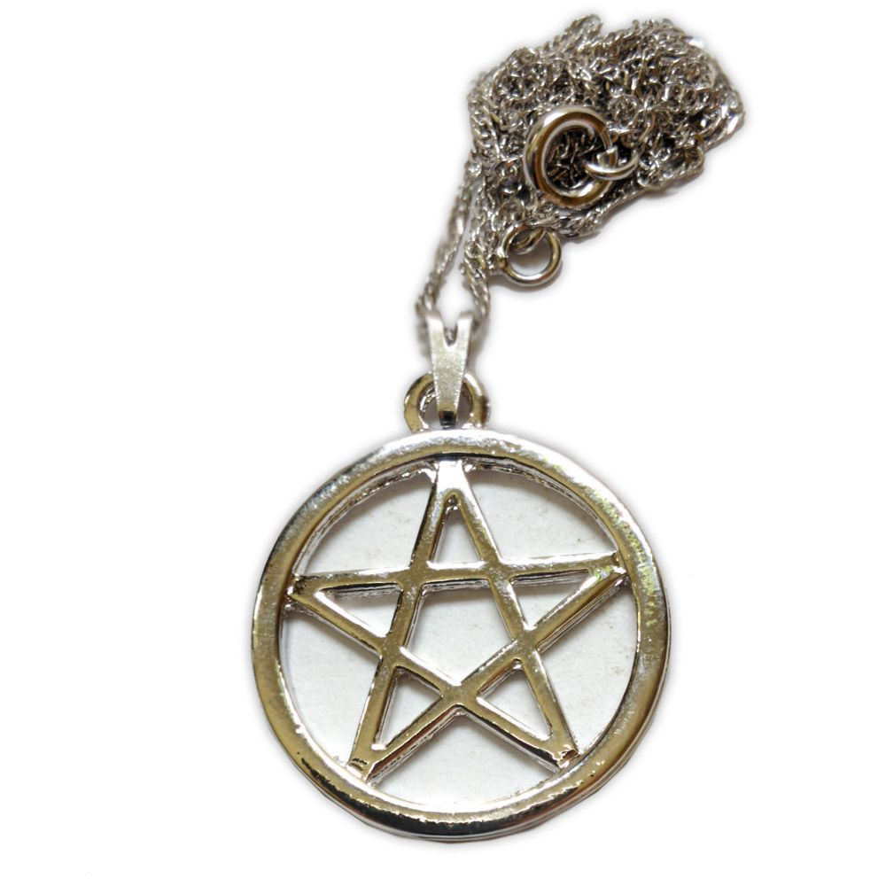 Talismã Colar Pentagrama, Proteção - Prateado Grande