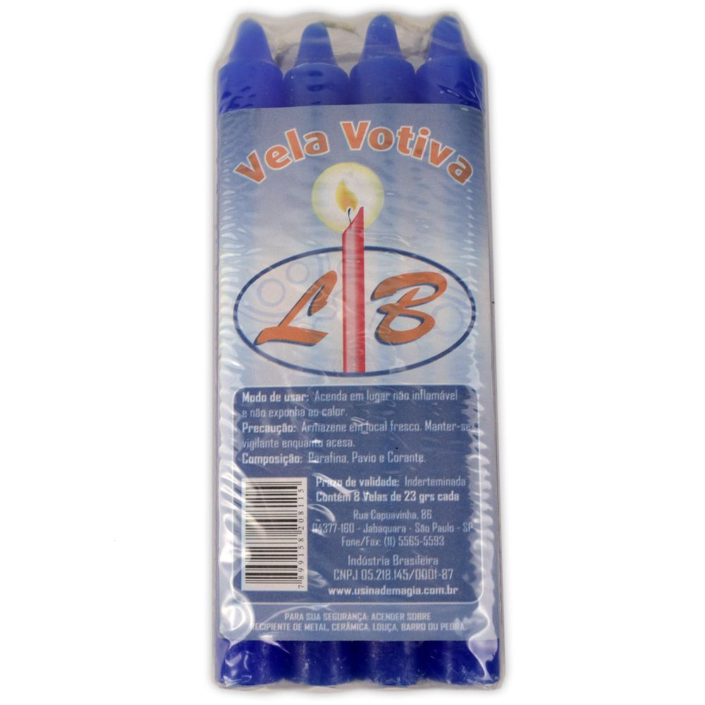 Vela Palito - Azul (pacote c/ 8)