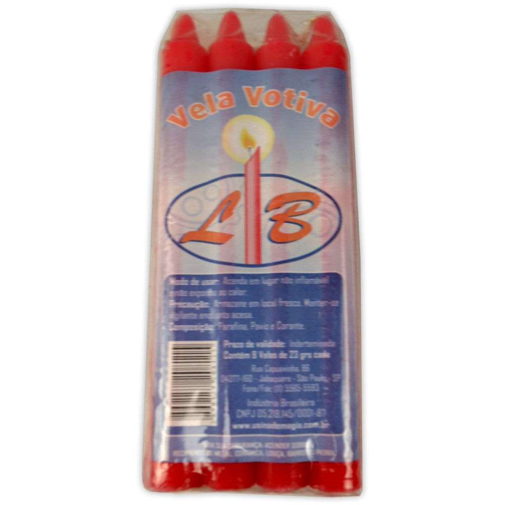 Vela Palito - Vermelha (pacote c/ 8)