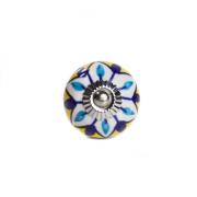 Puxador de Porcelana Mandala Azul e Amarelo