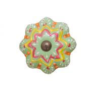 Puxador de Porcelana Mandala Colorido