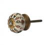 Puxador de Porcelana Floral Dourado