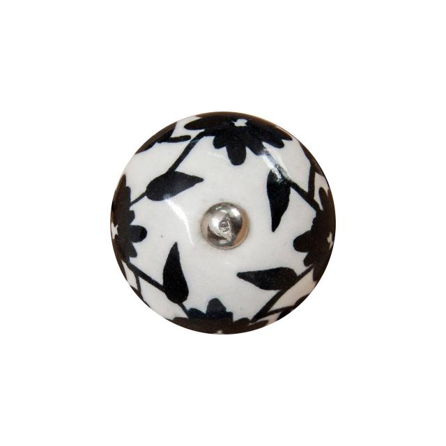 Puxador de Porcelana Floral Preto e Branco